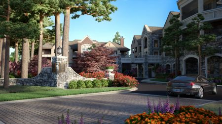 A rendering of the club and lodge proposed as part of the Peachtree Hills Place senior housing development.