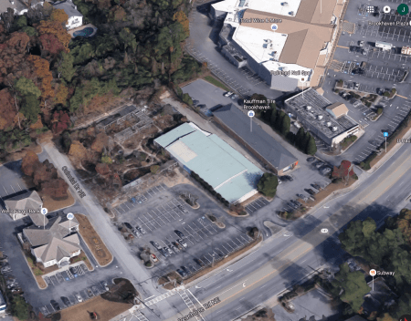 A Google Earth image of the former Hastings Nursery site on Peachtree Road at Colonial Drive in Brookhaven.