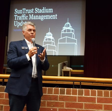 """State Sen. Judson Hill discusses traffic """"angst"""" at the Braves stadium traffic forum Sept. 21. (Photo John Ruch)"""