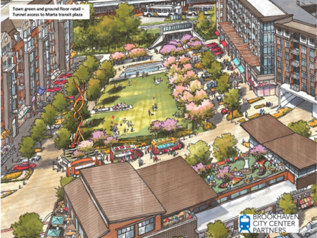 A rendering of the town green at the center of the proposed MARTA mixed-use development.