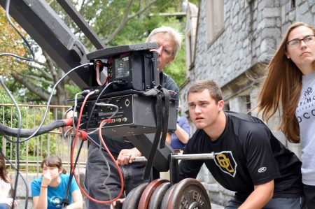 Oglethorpe University students majoring in film production work behind the scenes at their college, an attractive location for filmmakers. (Photo Lisa Larson)