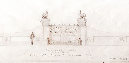 A detail of the original, hand-drawn sketch for the Thornton House's entrance gate as found and copied by Dr. Robin Fowler in the Atlanta History Center files.