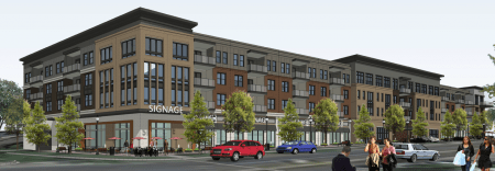 A rendering of the proposed Dresden Village development at Dresden Drive and Caldwell Road.
