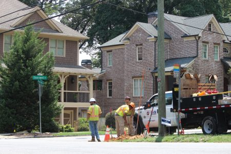 Google Fiber being installed along North Druid Hills Road in July. (Photo Dyana Bagby)