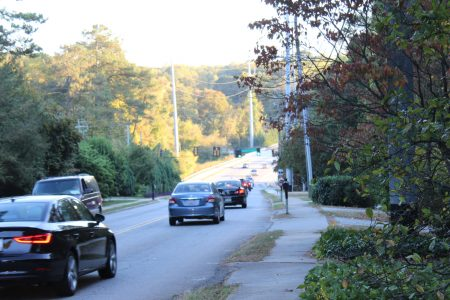 Congestion from rush-hour traffic near  Montgomery Elementary School is one issue being addressed in the city's Ashford-Dunwoody Corridor Study. (Photo Dyana Bagby)