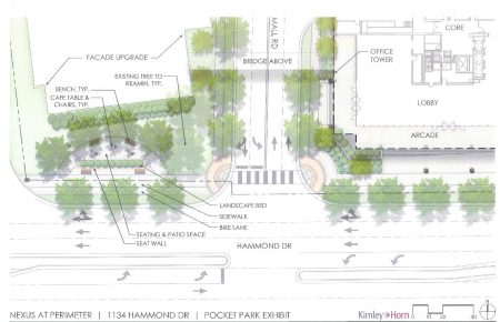 Rendering of proposed pocket park. (Kimley Horn)