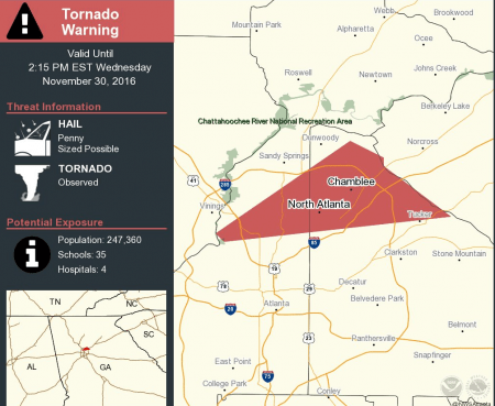 A National Weather Service map of the area it placed under a tornado warning Nov. 30 following a funnel sighting in Cobb County.