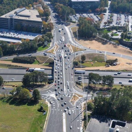 The existing diverging diamond interchange at Ashford-Dunwoody Road and I-285 in Dunwoody, from the Perimeter Center Improvement Districts website.
