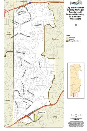 The area residents have petitioned to be annexed by Brookhaven is located in the small yellow area at the very bottom of the map. (City of Brookhaven)
