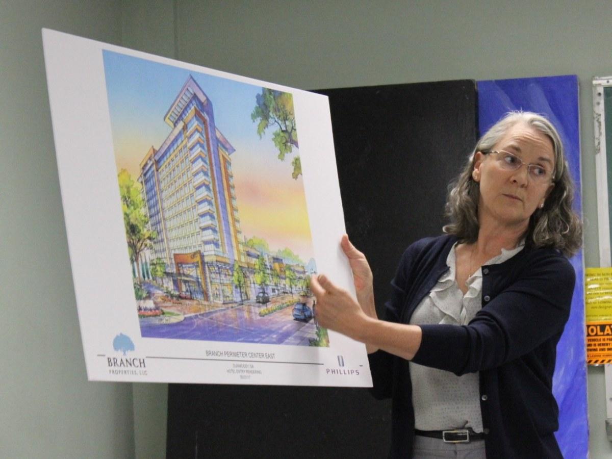 Attorney Laurel David presents a conceptual design for a hotel in the 84 Perimeter Center East