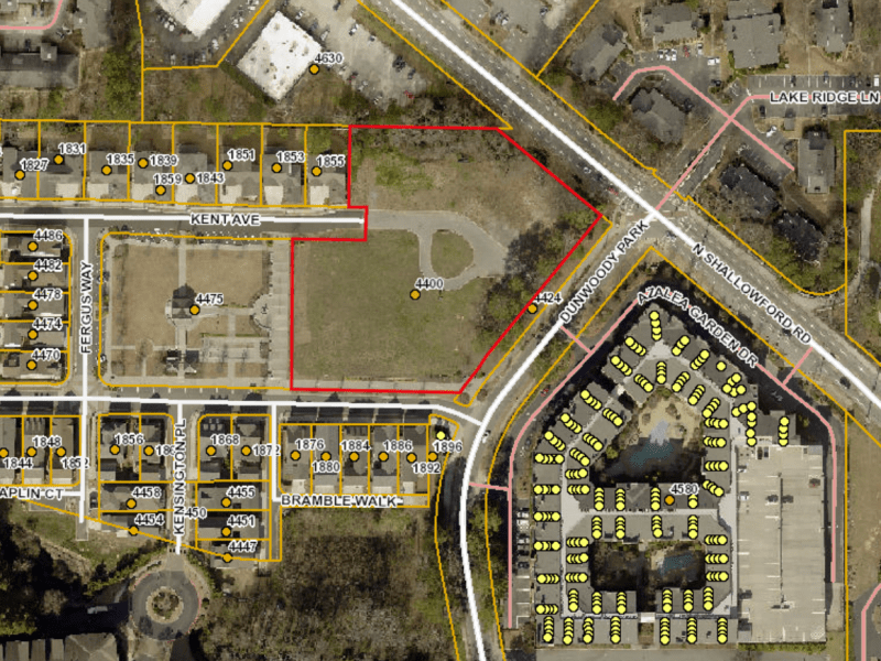 a map's view of 4400 North Shallowford Road