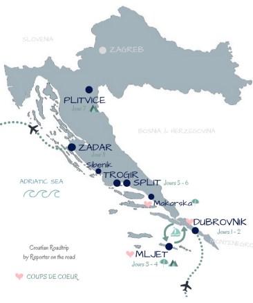 carte itinéraire road trip Croatie