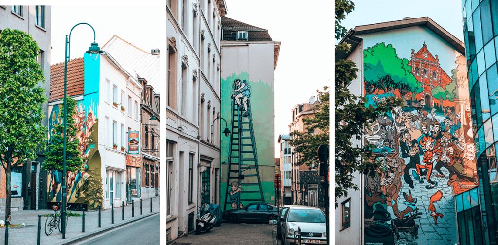 Quartier Marolles Bruxelles peintures BD