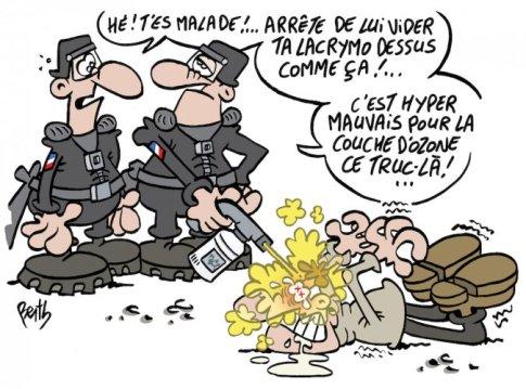 """Les gaz lacrymogènes: dangereux pour la santé, mais... silence d'État<small class=""""fine""""></small>!"""
