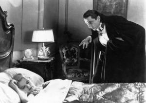 Bela Lugosi no papel de Drácula, no filme homónimo de 1931, baseado no romance de Bram Stoker e estreado em Portugal apenas em 1976.