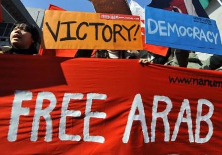 Protesto na Coréia do Sul em apoio às manifestações nos países árabes