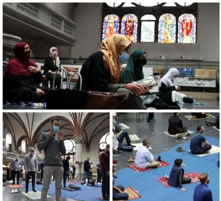 Church open doors for Muslims to observe their Prayers in Germany (Photos)