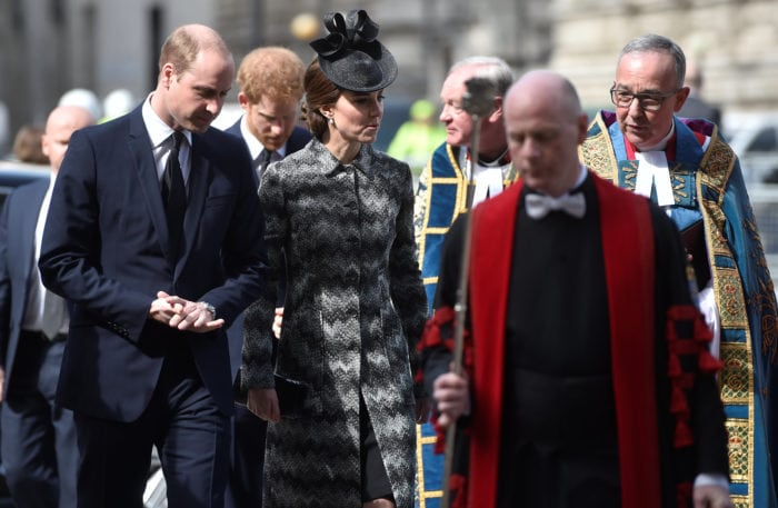 Britain's Prince William and Catherine, the Duchess of Cambridge, arrive at a Service of Hope at Westminster Abbey, following the attack on Westminster Bridge two weeks ago, in London, April 5, 2017 REUTERS/Hannah McKay