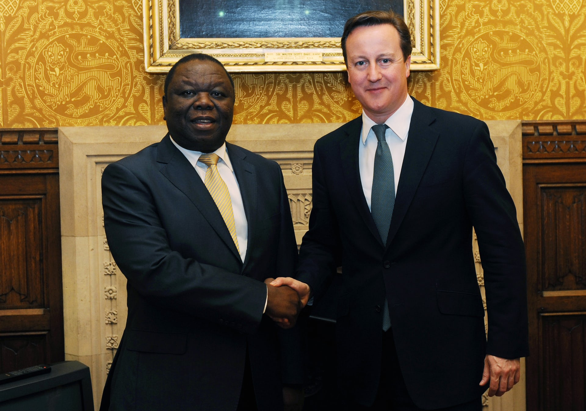 Tsvangirai meets then British prime minister David Cameron at the House of Commons in 2012.
