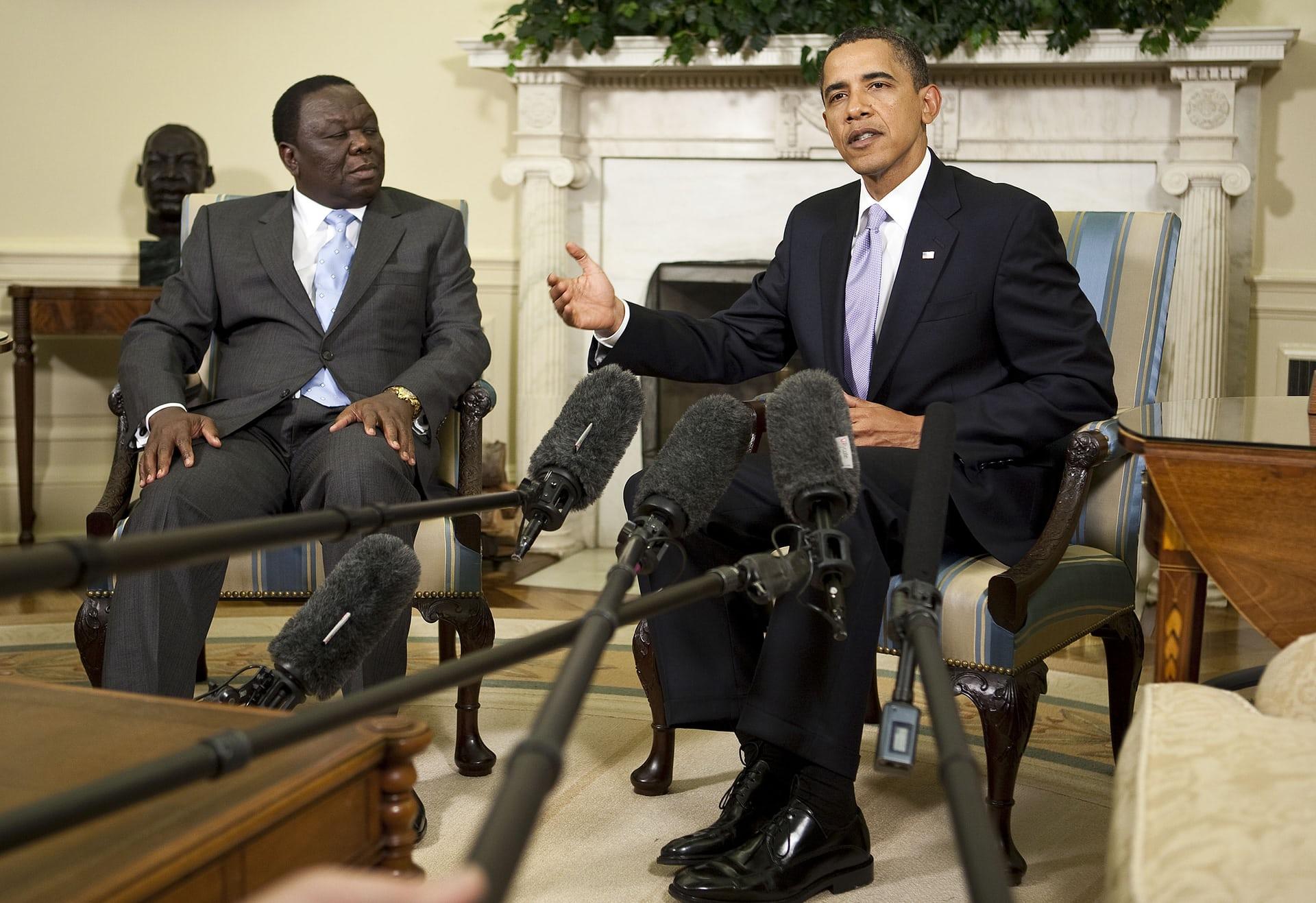 Tsvangirai meets then US president Barack Obama in the White House in June 2009.