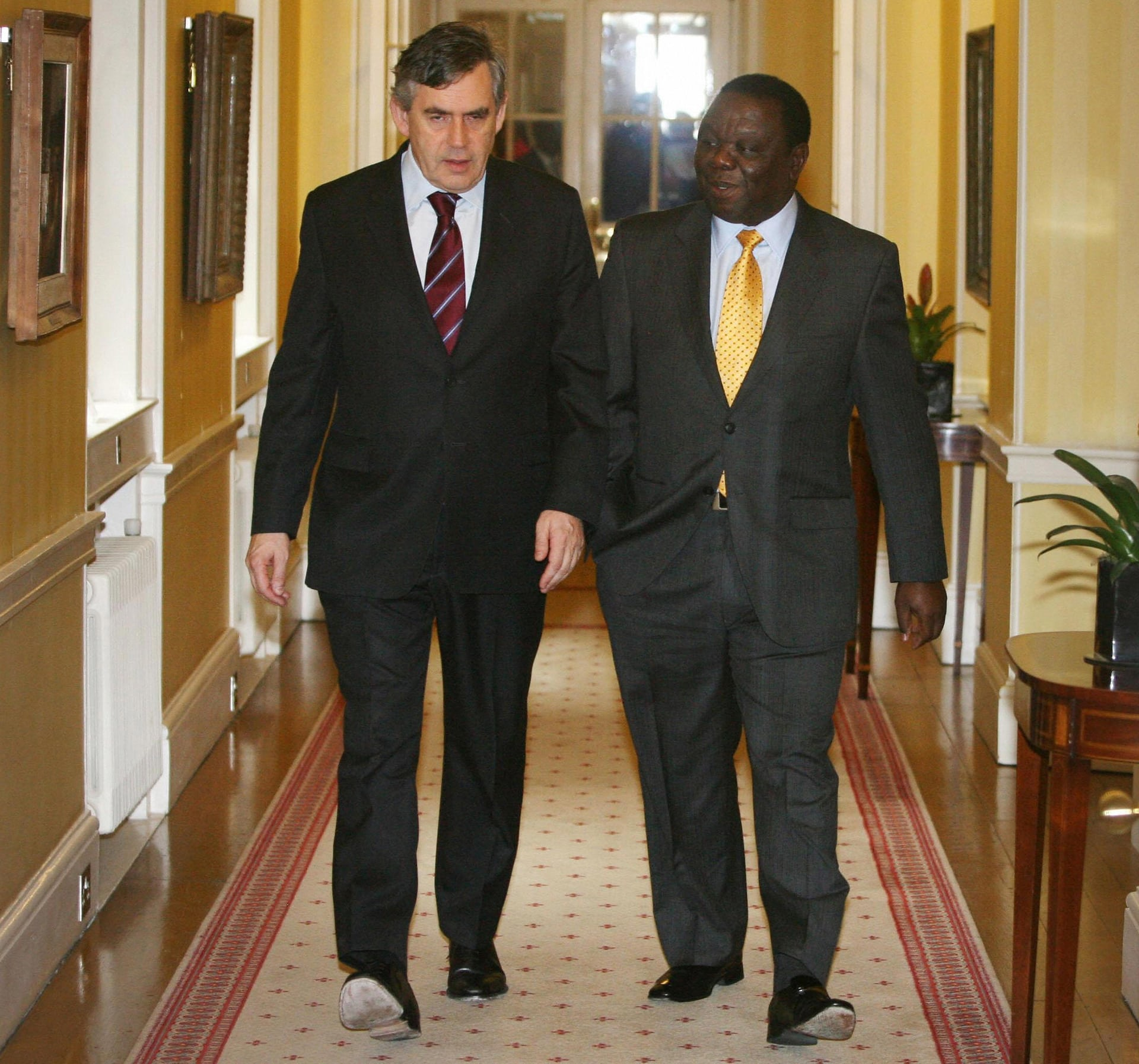 Tsvangirai meets then British prime minister Gordon Brown in Downing Street on a tour of Europe and the US in June 2009.