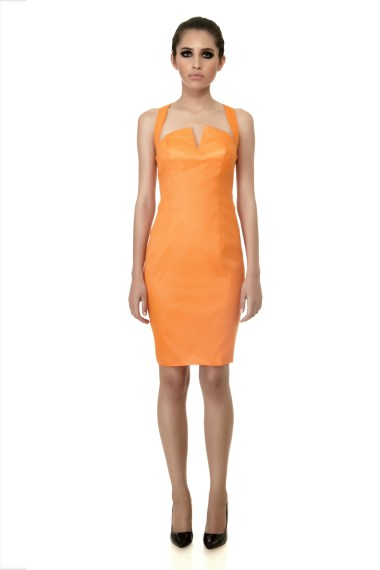 'Sunset' Apricot Dress front-1333x2000