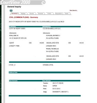 Court case summary report against Ramella's.