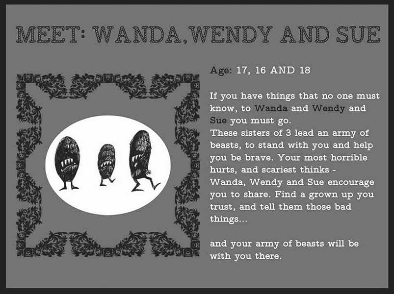 "Wanda, Wendy und Sue aus ""Many Mysterious Monsters"" (Grafik: Lenny K.)"
