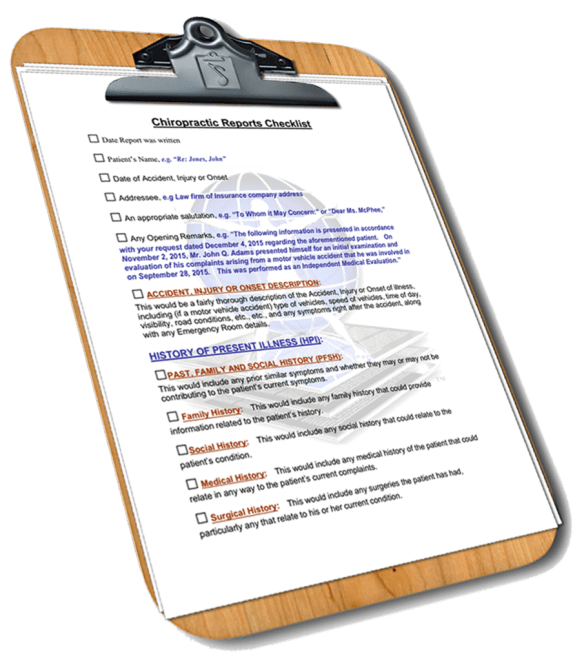 Report Master Chiropractic Report Writer Checklist