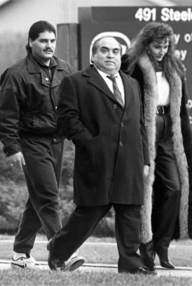 Hamilton crime boss Domenic Musitano, centre. Domenic Racco, the mobster who was found murdered in December 1983, owed the Musitano family as much as $500,000.