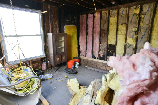 A local man donated the used insulation LaPonte is using in the walls of her home.