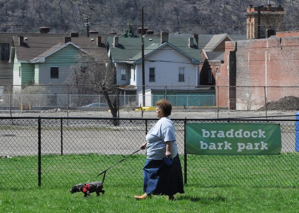 Sharon Newsom heads to the dog park with her dog Tippie