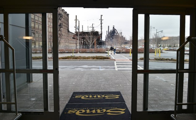 The front door of the Sands' hotel on part of the former steel mill leads right out to the site's former trestle which will soon be pedestrian accessible.