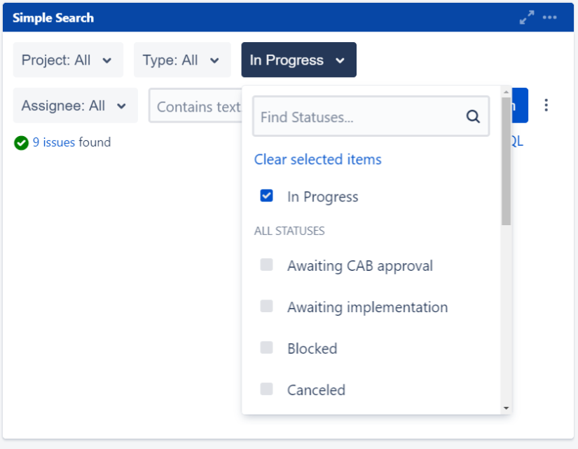 Onboarding Jira Dashboard search