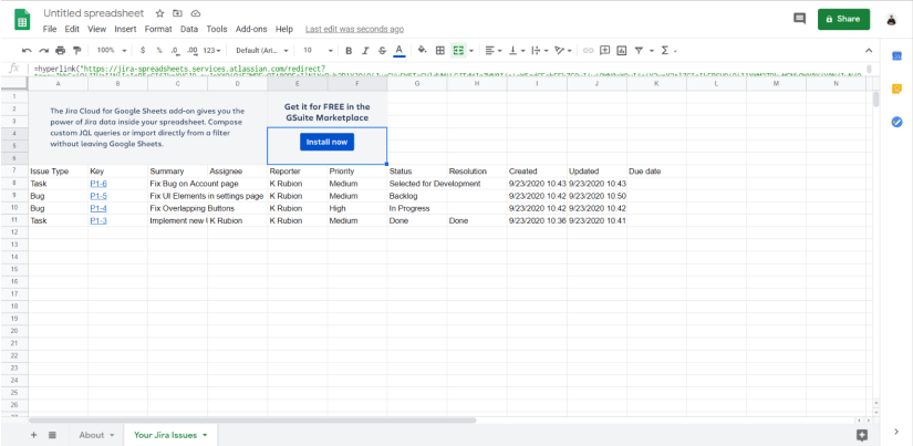 Jira Cloud for Google Sheets integration
