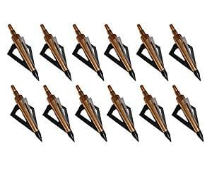 12Pack 3 Fixed Blade Archery Broadheads 125 Grain Arrow Head Hunting Arrow Tips Golden for Compound Bow and Crossbow
