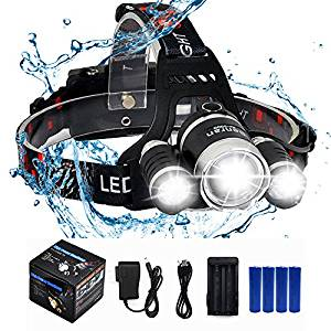 BenRan Led Headlamp CREE 3xT6 XM-L Super Bright USB Rechargeable Waterproof Hunting Headlamps Adjustable Spot Light Focus Zoom Lights, Headlight Bicycle Flashlight,4 Modes (Focus Zoom Lights, Silvery)