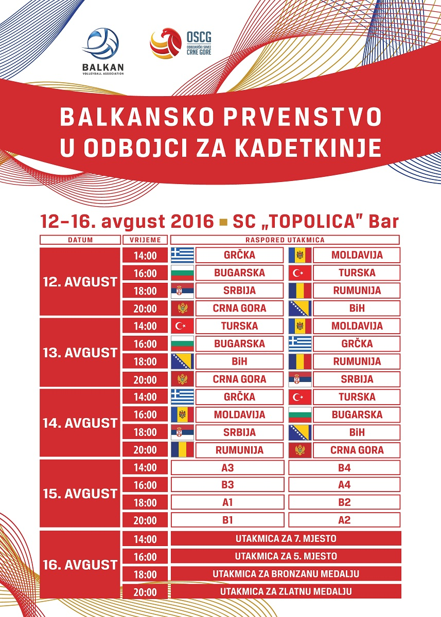 plakat balkanijada kadetkinje balkansko prvenstvo bar 2016 oscg odbojka