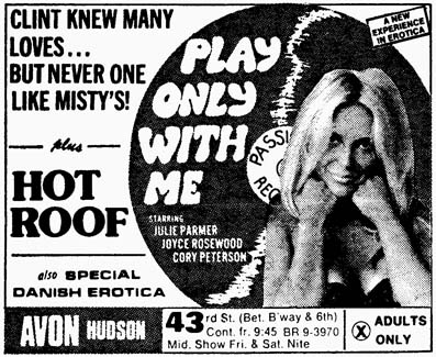 New York Post (12/75). Both the title and the catchline blatantly - if rather belatedly - allude to Clint Eastwood's PLAY MISTY FOR ME (1971).