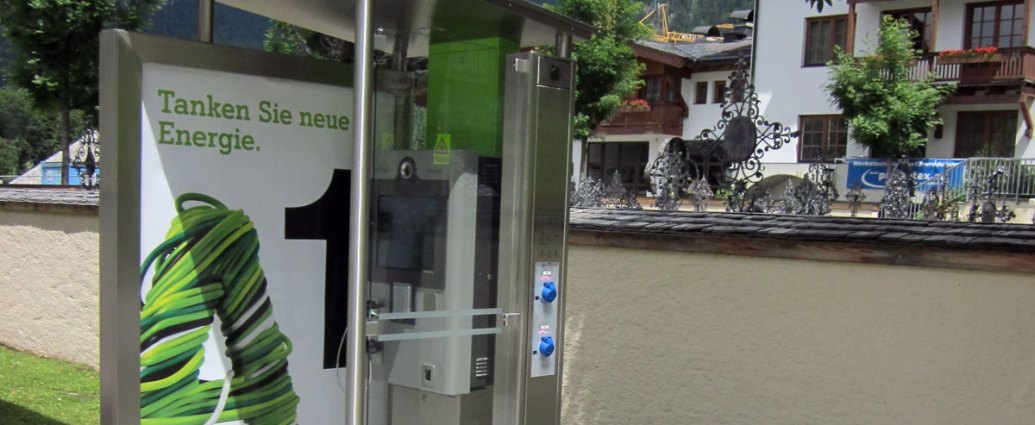 A1 EV car charging station from repurposed phone booth
