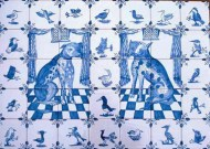 Delftware cat and dog tiles