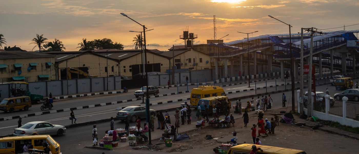 Electricity Line and Sunset at Dopemu, Lagos, Nigeria