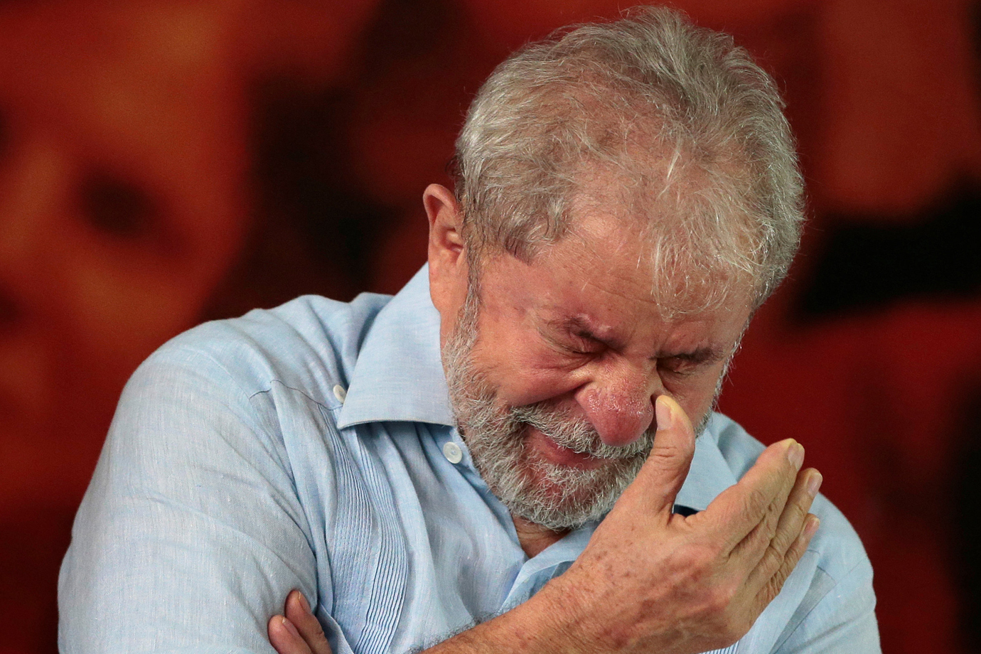 Former Brazilian president Luiz Inacio Lula da Silva attends a meeting with members of the Workers Party (PT) in Sao Paulo