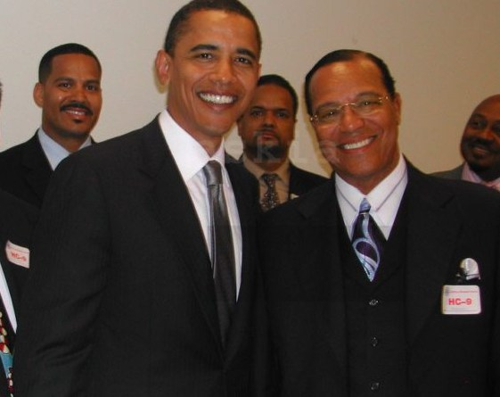 Then Senator Obama posing with strong supporter and ally Louis Farrakhan