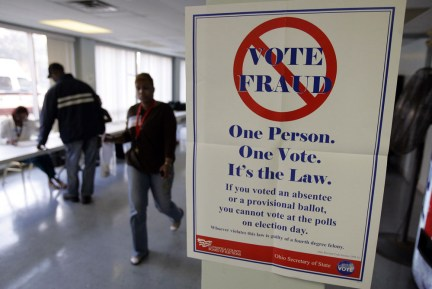 CLEVELAND, OH - NOVEMBER 4: A voter fraud sign is seen at Lupica Towers November 4, 2008 in Cleveland, Ohio. Voting is underway in the US presidential elections with Sen. Barack Obama (D-IL) leading in the race against the Republican presidential nominee Sen. John McCain (R-AZ). (Photo by J.D. Pooley/Getty Images)