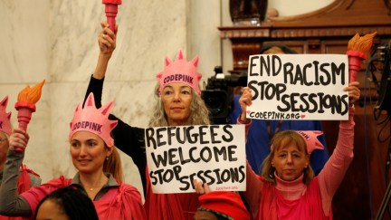 Woman in Code Pink hat found guilty, faces year in prison, for outburst at AG Sessions in Congress while protesting refugee ban