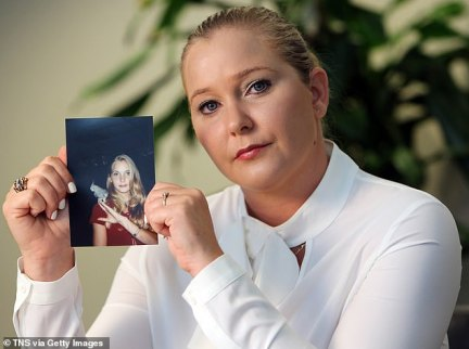 The fresh allegations were made by Epstein accuser Virginia Roberts Giuffre, who claims she was recruited to be a 'sex slave' by the millionaire financier and his girlfriend Ghislane Maxwell when she was 15 in 1999. Giuffre, 35, is seen holding a photo of her 16-year-old self