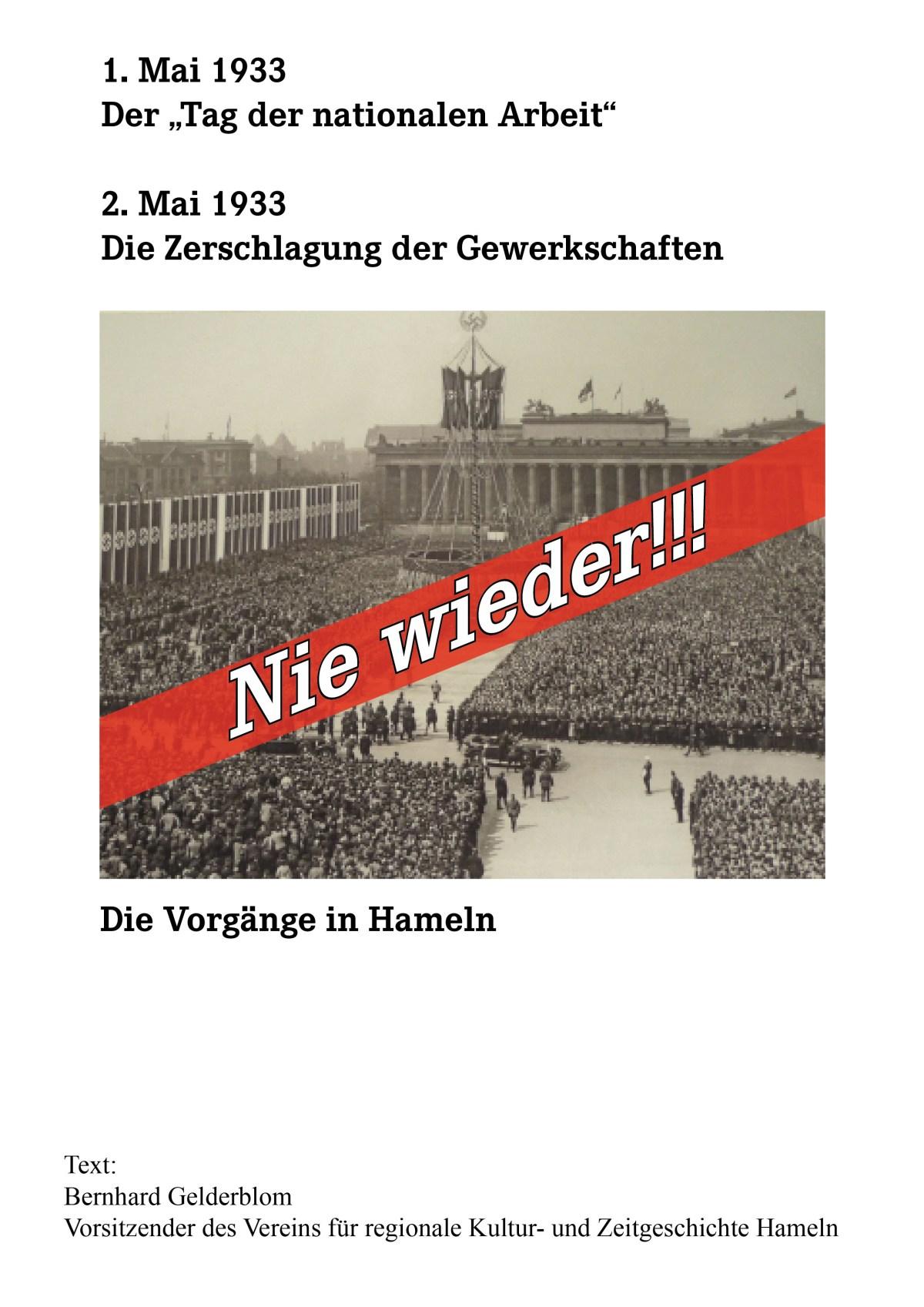 Nie wieder! Heute vor 85 Jahren wurde die Gewerkschaftsbewegung in Deutschland zerschlagen