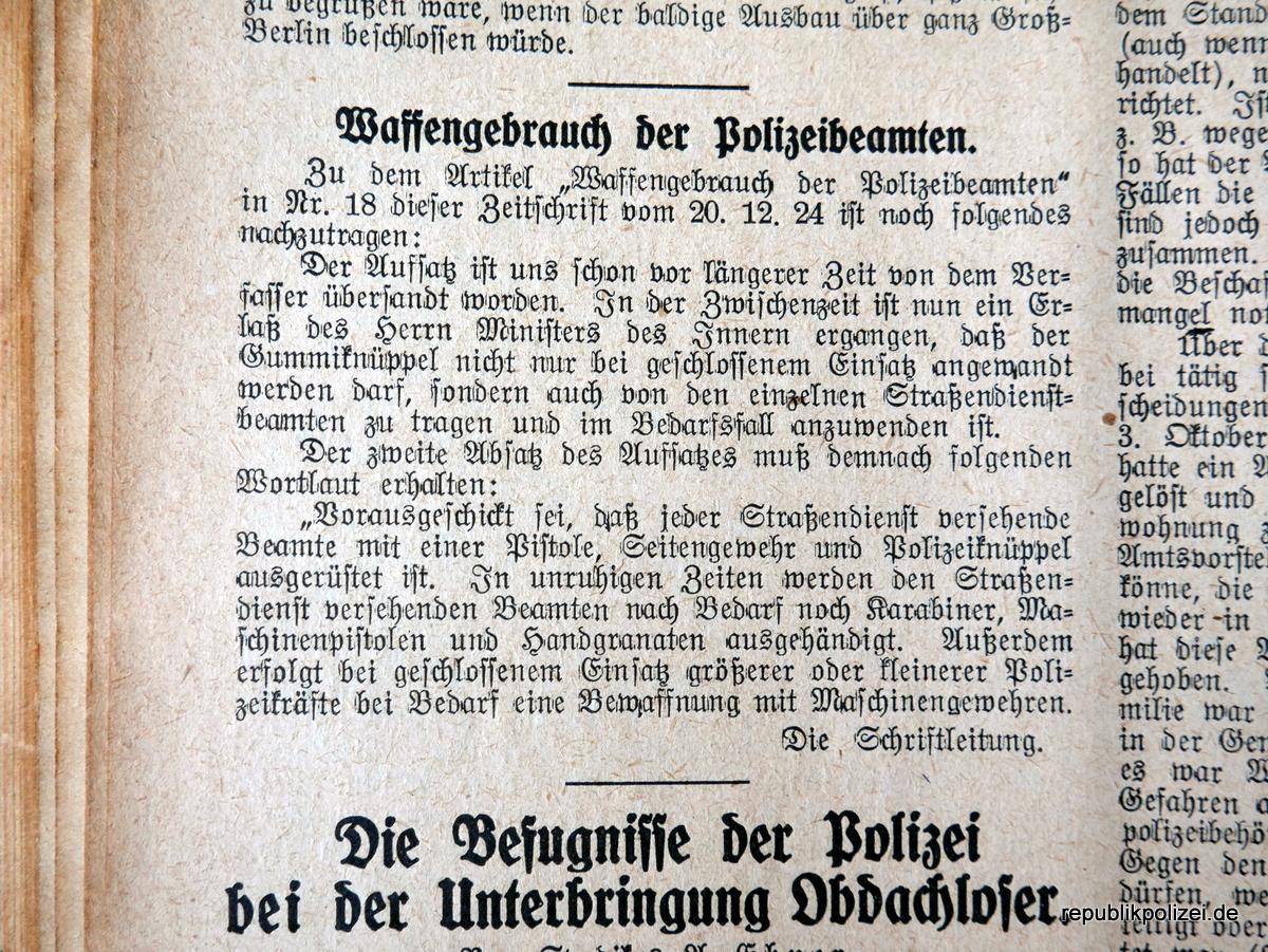 Waffengebrauch der Polizeibeamten  (in der Weimarer Republik)