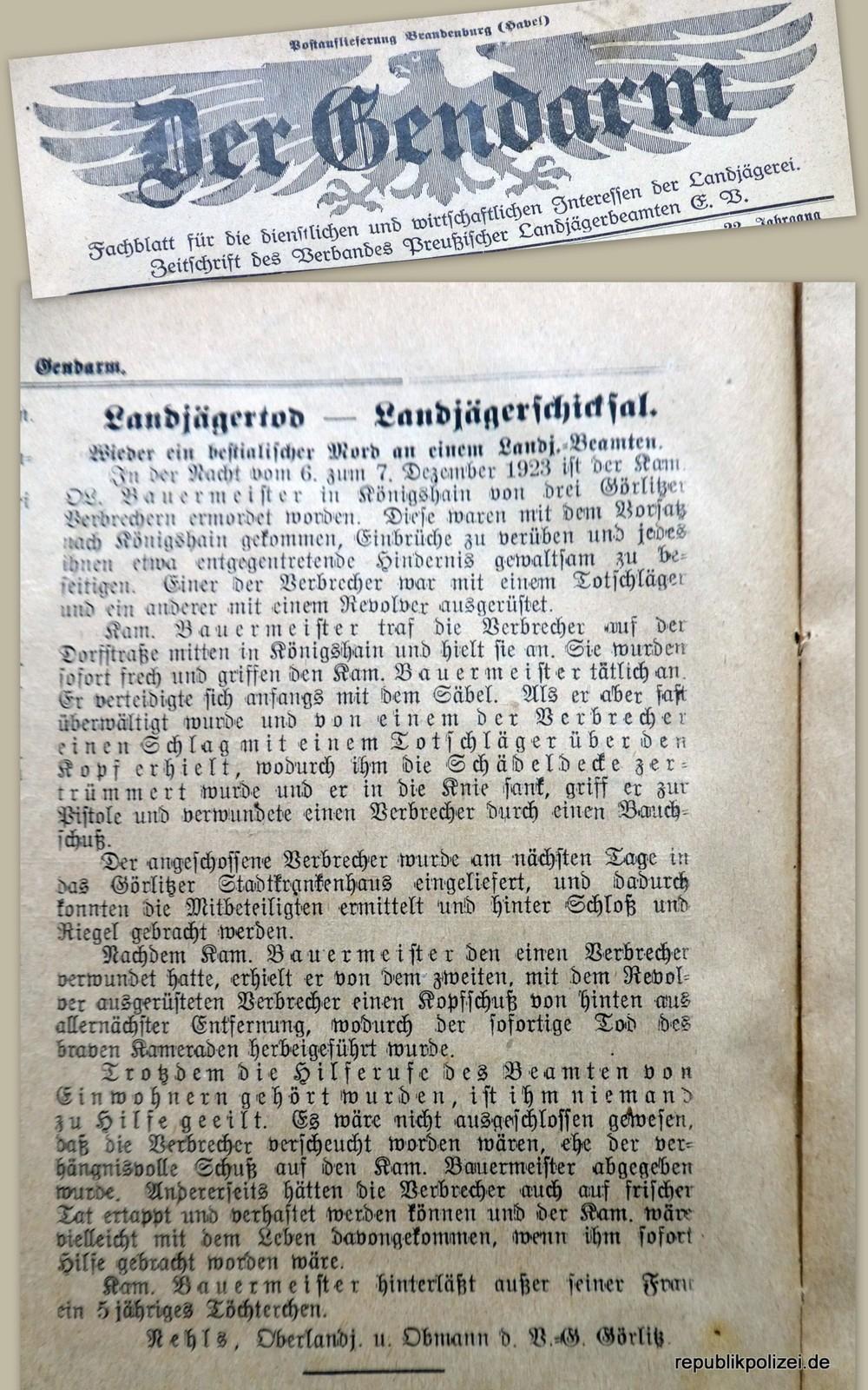 """Landjägertod – Landjägerschicksal (""""Der Gendarm"""" vom 6. Januar 1924)"""